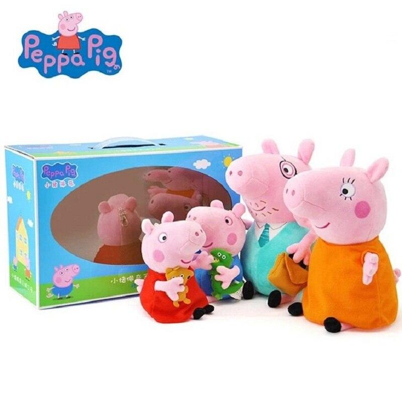 Peppa Pig Stuffed Plush Toys 19cm Peppa George Pig Family Party Dolls For Girls Gifts Animal Plush Toys Original Brand peppa pig george s balloon