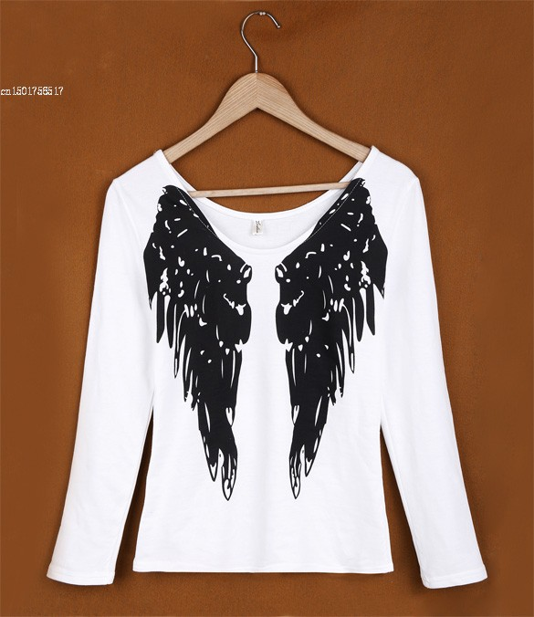b476db748e2 US $8.08 |Wings T Shirt For Women, Quality Autumn Winter Long Sleeve Angel  Wings Print T Shirt, Sexy V Neck Top 10-in T-Shirts from Women's Clothing  ...
