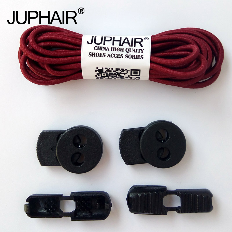 JUP12 Pairs Free Shipping Colorful Locking Laces Black Lace Buckle Elastic Shoelaces Shoe Trings Jogging Triathlon Sport Fitness