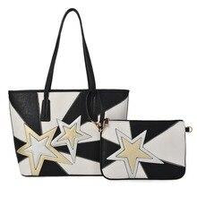Bolso compuesto de 2 piezas, un bolso de hombro con estrella paneled PU gran tamaño