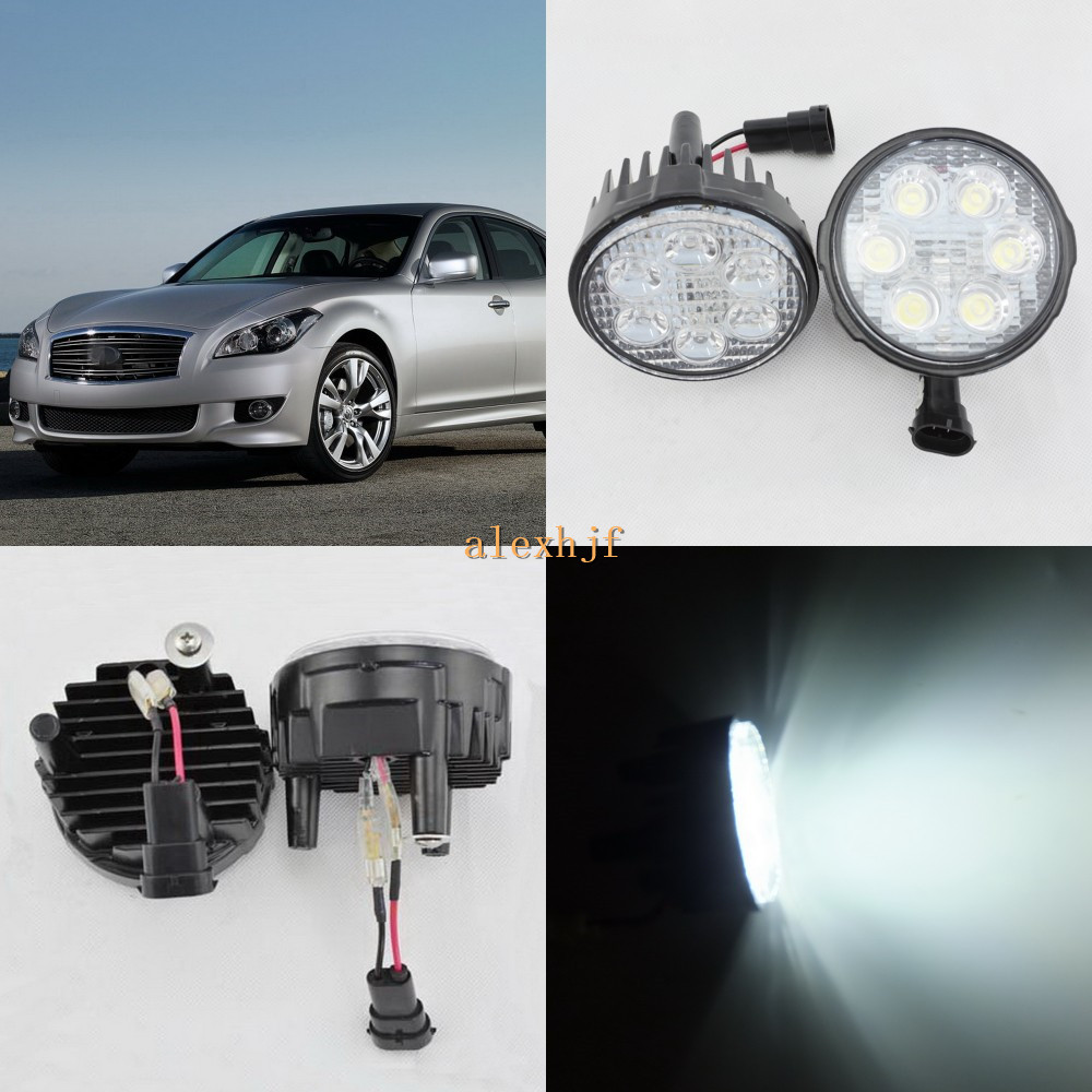 July King 18W 6LEDs H11 LED Fog Lamp Assembly Case for Infiniti M37 M56 Q70 2011~2014, 6 ...