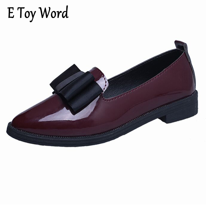E TOY WORD Autumn Women single shoes low-heeled pointed toe bow Women shoes flat shallow mouth low-top Casual Women's Oxfords lennon j skywriting by word of mouth