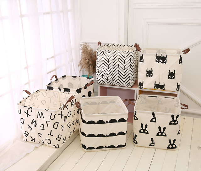 Nordic Style Canvas Storage Bag For Toys Clothes Kids Room Organizer Bag Pouch Canvas Storage Pouch Stand Bag For Kids 32x32CM