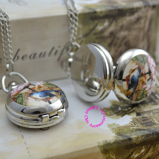 wholesale buyer price good quality silver mirror sketch drawing bird in flower chain pocket watch necklace clock antibrittle