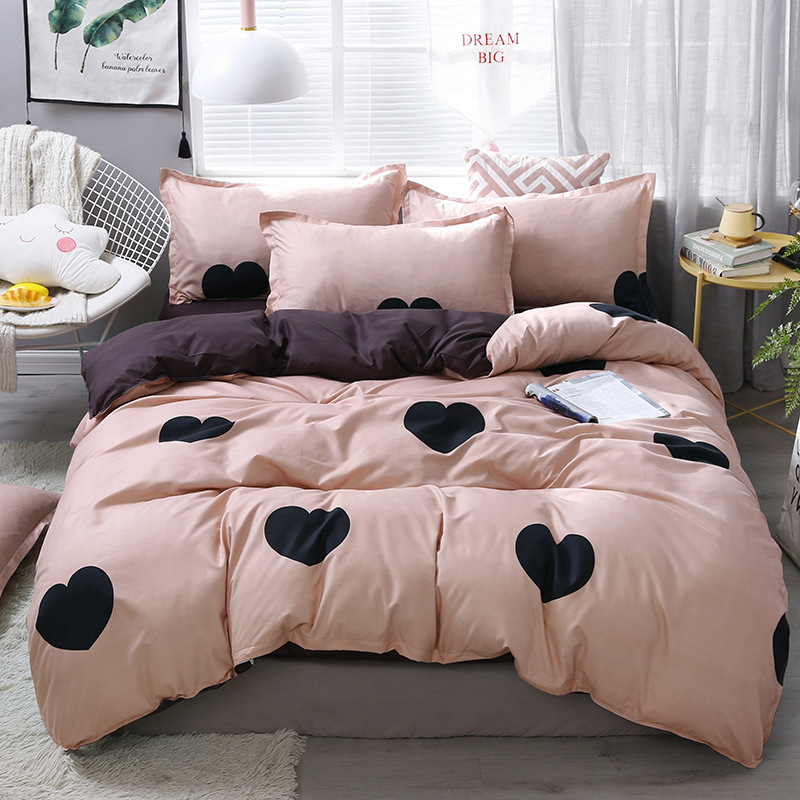 Black Heart Home Bedding Set 3/4pcs Bed Linen Set Heart Printed Duvet Cover Set Classic Bed Cover Sheet Pillowcase Camel Bed Set