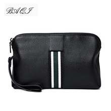 цена на BAQI Brand Men Wallets Clutch Bag Genuine Leather Cowhide Men Handbag High Quality 2019 Fashion Ipad Bag Men Card Holder Casual
