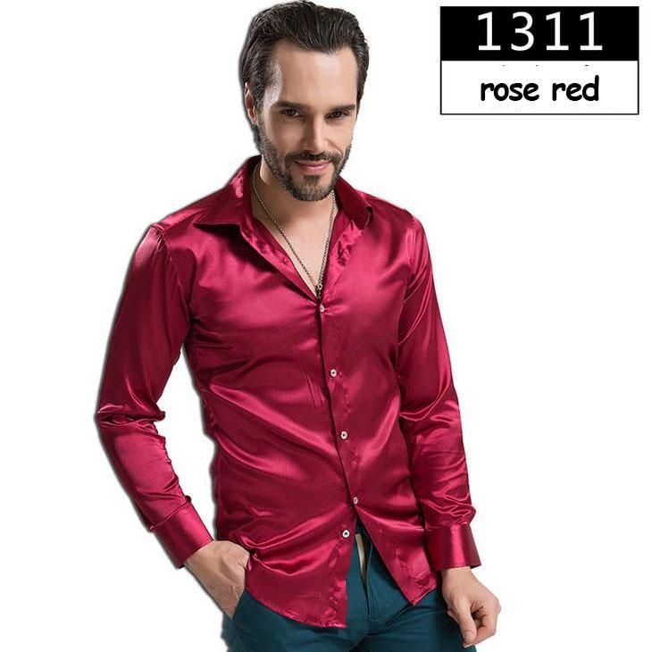 ZOEQO новая рубашка-смокинг для мужчин, 12 цветов, шелковое мужское однотонное платье с длинными рукавами, рубашка с запонками, мужские рубашки camisetas masculinas - Цвет: 1311 rose red