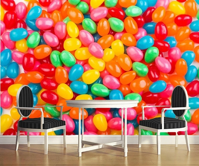 Custom muralssweets candy many jelly food wallpaperrestaurant snack shop dining room tv