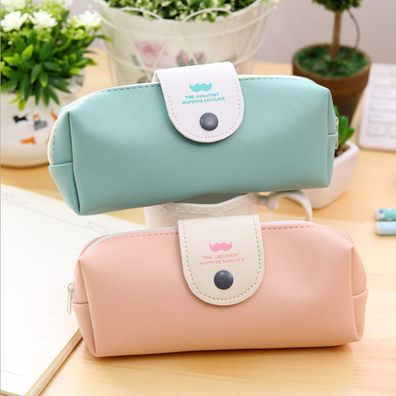 Cute Kawaii PU Leather School Pencil Case Large Pencil Box Pen Bag For Girls Korean Stationery Office Supplies Free Shipping 680
