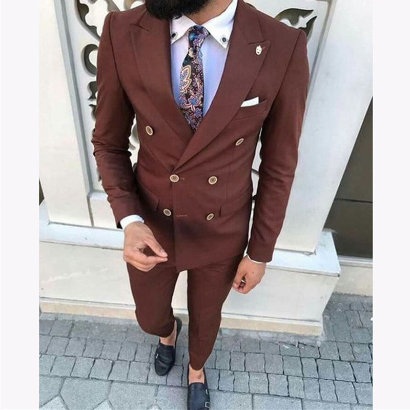 Latest wedding Men Suits costume homme Slim Fit 2 Pieces Groom Tuxedo Double Breasted mens Suit smoking Blazer Masculino
