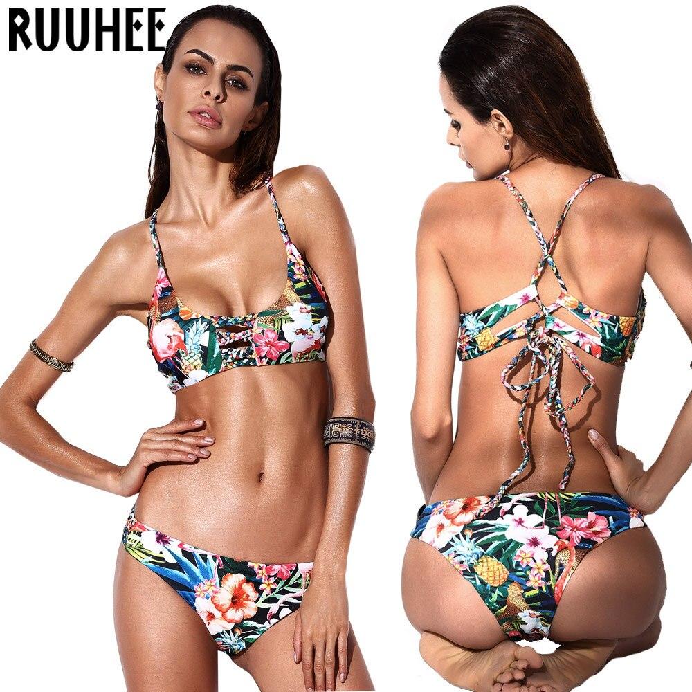 Bikini Mujeres del traje de Baño traje de Baño Biquini Floral Bikini Set Beachwe