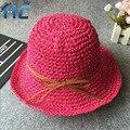 2016 Summer Candy Colors Hats For Women Handmade Crochet Straw Hat Girls Bucket Hat Ladies Beach Cap Chapeu Feminino