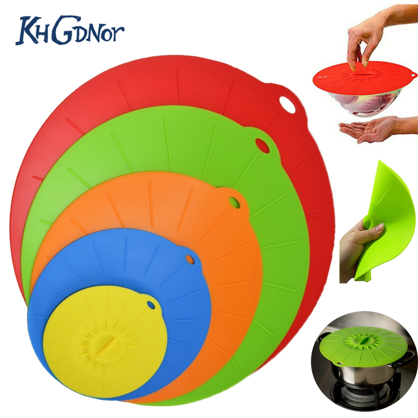 KHGDNOR 5pcsset Silicone Microwave Pan Covers Lid Pot
