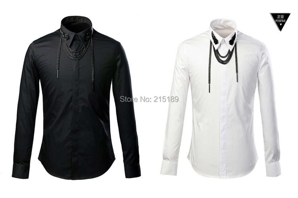 Popular Mens White Dress Shirt with Black Solid Collar-Buy Cheap ...