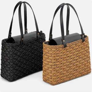 Image 1 - New black camel borsa di paglia rattan naturale di spalla borsa da spiaggia borsa borse tessitura a mano Crossbody bag