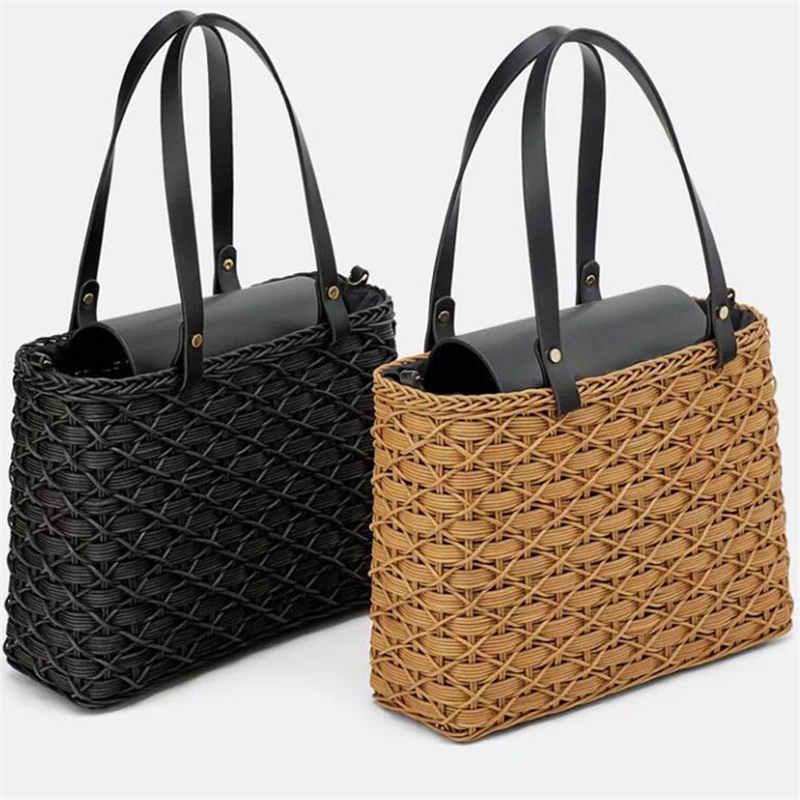 New Black Camel Straw Bag Natural Rattan Shoulder Bag Beach Handbags Weaving Handmade Crossbody Bag