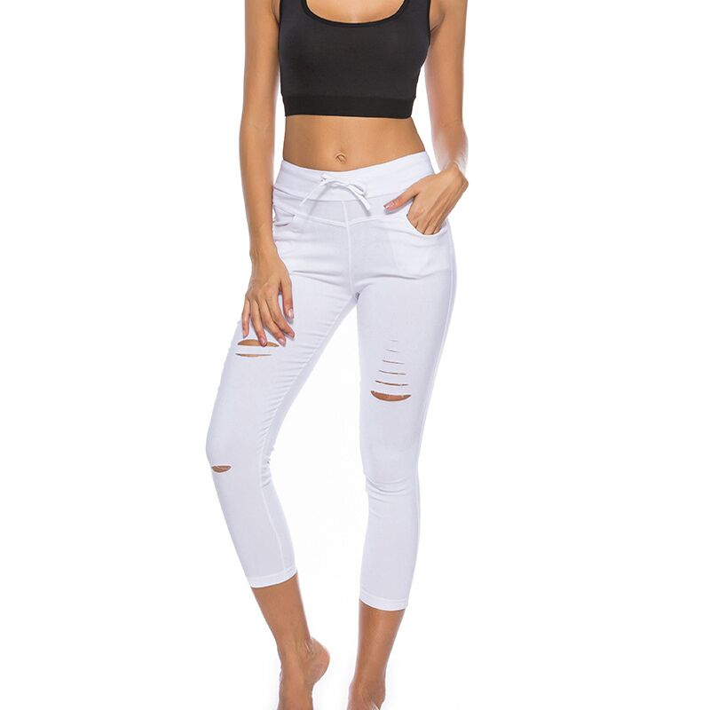 793b708b7 New 2016 Skinny Jeans Women Denim Pants Holes Destroyed Knee Pencil Pants  Casual Trousers Black White Stretch Ripped Jeans