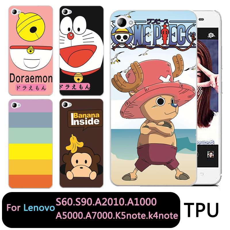 QMSWEI Soft TPU Clear Phone case For Lenovo S60 S90 A2010 a1000 a5000 A7000 k5note k4note k3note Soft One Piece Doraemon Cover
