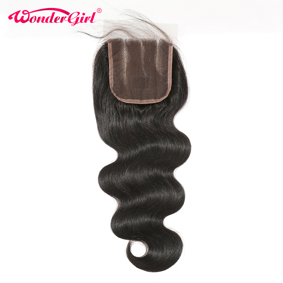Wonder girl Brazilian Body Wave Closure Free Part 4x4 Human Hair Lace Closure With Baby Hair