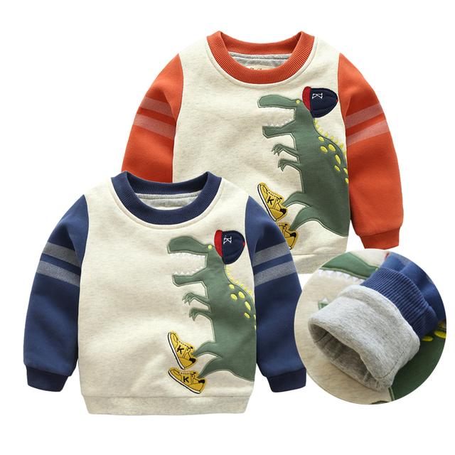 Meninos de inverno Meninas Camisola Roupas Da Moda Além de Veludo Hoodies Sweatershirt Grosso Tops Traje Dos Desenhos Animados Do Bebê Manga Comprida Casual