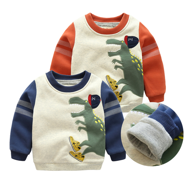 Winter Boys Girls Sweater Clothes Fashion Plus Velvet Hoodies Cartoon Baby Long Sleeved Casual Sweatershirt Thick Tops Costume