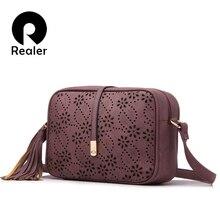 REALER brand new messenger bags women tassel bag floral holl