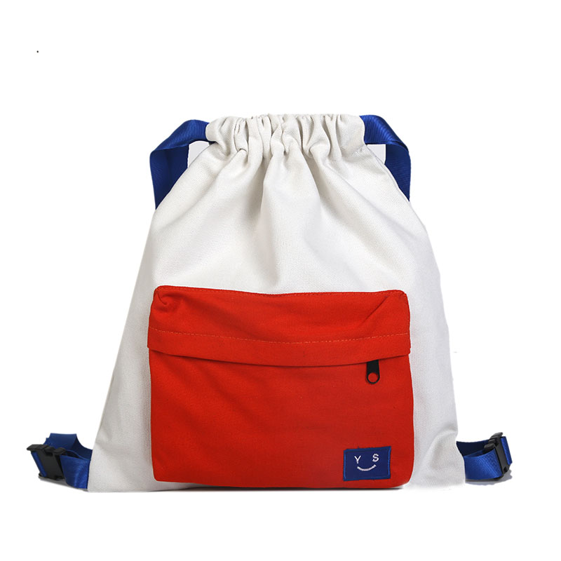 907e56a8d3bb 2018 New Fashion Drawstring Backpacks Women Canvas Panelled Knapsack ...