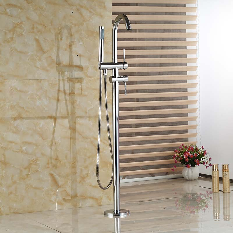 Single Handle with Diverter Floor Mount Tub Filler Faucet with Hand Shower Chrome Finish Freestanding