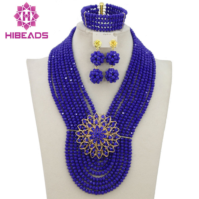 Royal Blue African Beads Jewelry Set 8 Layers Costume African Crystal Bridal Necklace Bracelet Earrings Jewelry Set AJS926