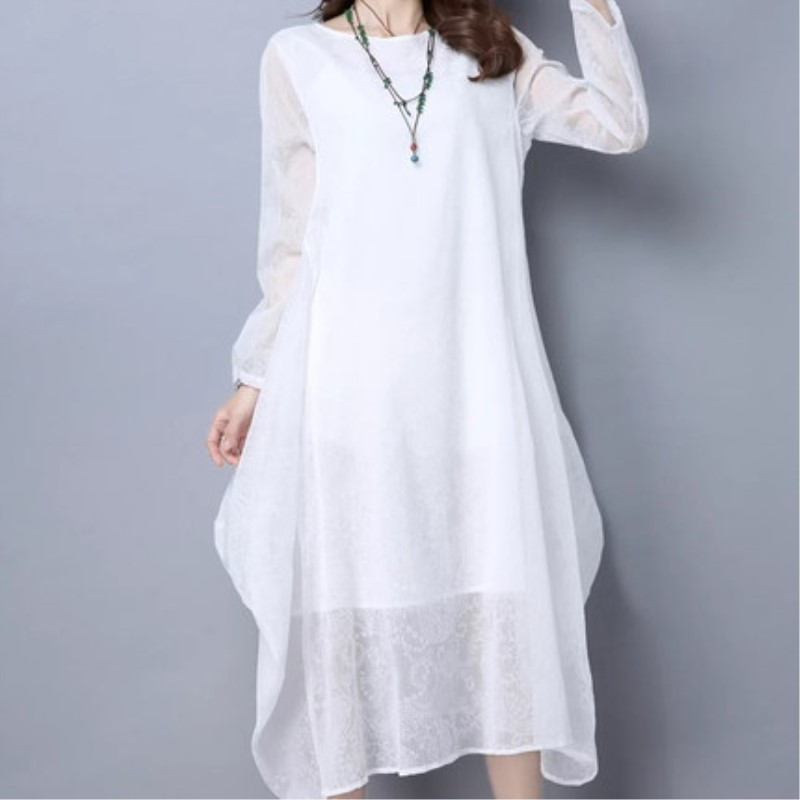 934f40054b36 Spring And Summer Female Cotton And Linen Baggy And Loose Dresses Women s  Plus Size False Hemp Silk Dress-in Dresses from Women s Clothing on  Aliexpress.com ...