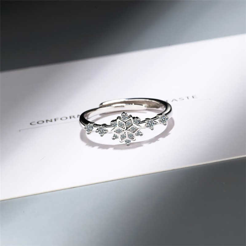 Sole Memory Creative Zircon Snowflake Flower Fresh Cute Sweet 925 Sterling Silver Female Resizable Opening Rings SRI365