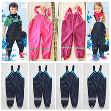 Bib pants spring and autumn female child waterproof double layer rain pants suspenders beach pants quality thin skiing pants