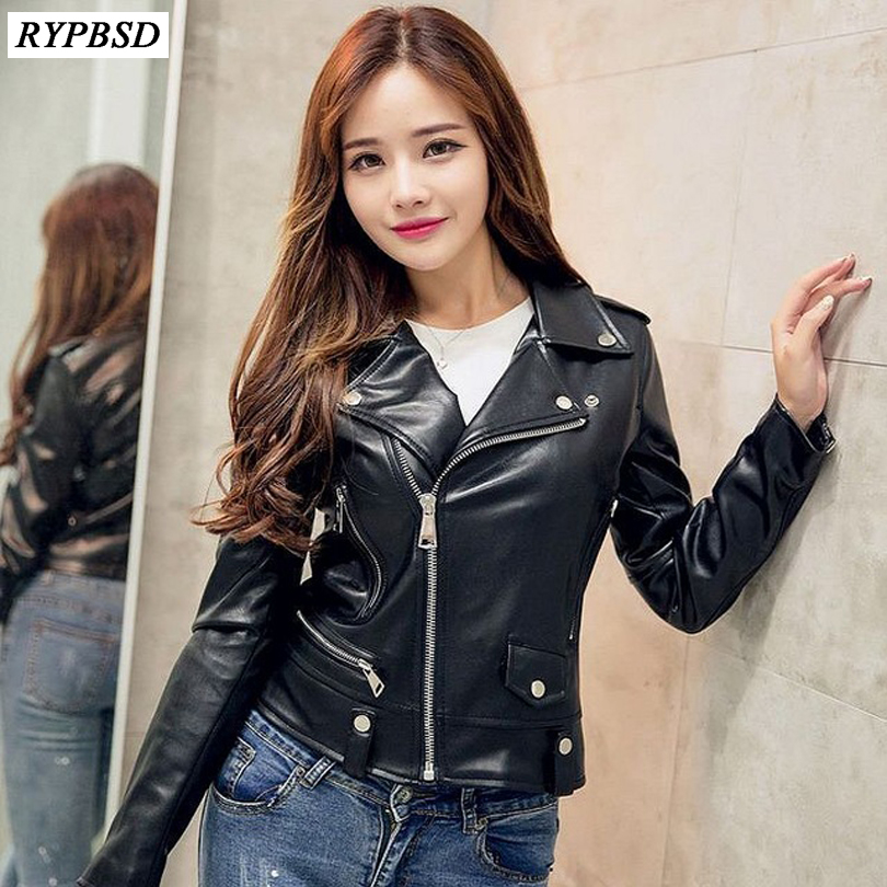 New Spring Fashion Women Motorcycle Rivet Faux   Leather   Coat PU Jackets Epaulet Zippers 3D Print Turn Down Collar Biker Plus Size
