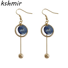 Brand punk geometric design fashion circle women party round pearl jewelry  earrings 2018 The blue eardrop
