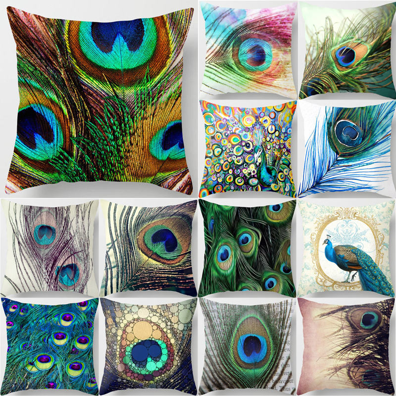 Active 1pcs Colorful Peacock Feather Polyester Cushion Cover Decorative Pillow For Sofa Seat Car Waist Cojines Home Decor 45*45cm 40826 Home Decor