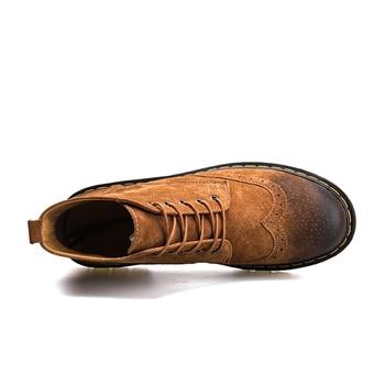 Genuine Leather Men Boots Autumn Winter Ankle Boots Fashion Footwear Lace Up Shoes Men High Quality Vintage Men Shoes 2