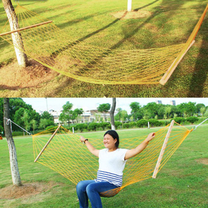 Image 3 - The Mesh Camping Hammock with Wooden Bar 80cm Single person Nylon Rope Hanging Chair with Tree Rope Summer Swing Bed