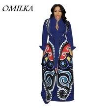 OMILKA Geometric Printed Big Swing Long Maxi Dress 2019 Autumn Winter Long  Sleeve Turn Down Collar 9608c28e2