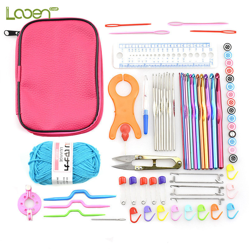 73 Pcs Looen Crochet Hooks Set Aluminum With Red Case Knitting Needles for DIY Craft Tool Yarn Random Color in Sewing Needles from Home Garden