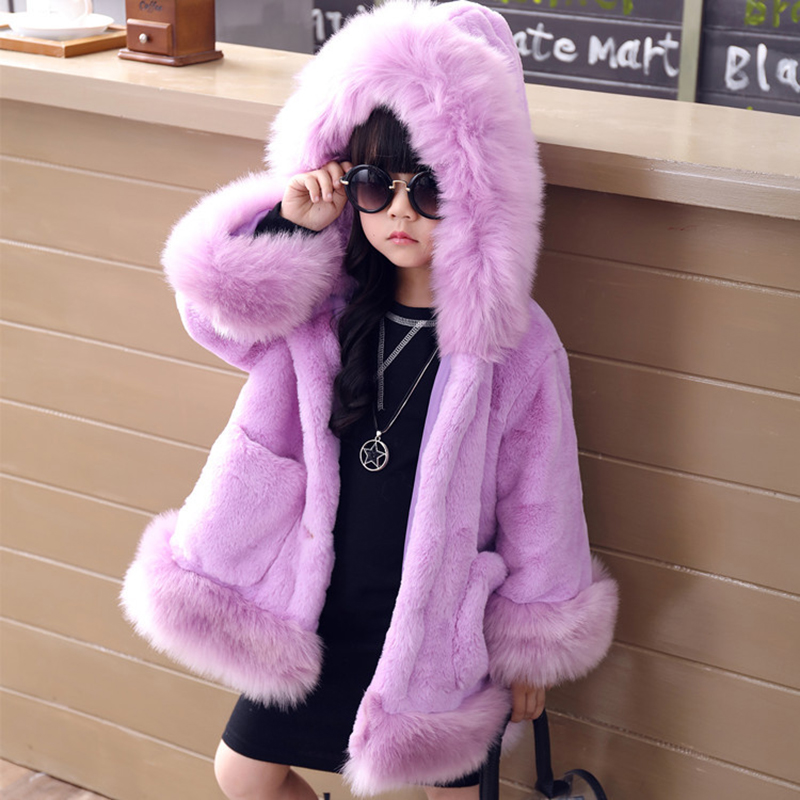 JKP 2018 New children's clothing children's long coat girls and kids Faux fur and cotton padded even hat coat winter FPC-121 fur contrast color men s cotton coat with hat