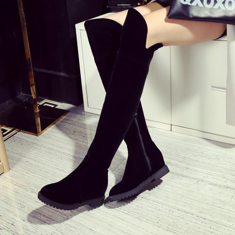 Sexy Zapatos Estiramiento Flock Las Invierno Moda De Rodilla Planos Antideslizantes Otoño Negro Delgado Zip No 1 Botas Mujeres Nueva 2016 Sobre Caliente 2plush Felpa WxZH8E7zwq