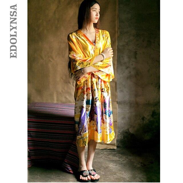 2019 Bathrobe Women Satin Bridesmaid Robes Vintage Kimono Printed Floral Robe Home Dressing Gown Yellow Wedding Robes #P144