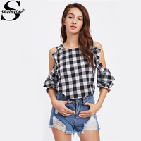 Sheinside Open Shoulder Frill Trim Check Plaid Blouse Autumn Cold Shoulder 3 4 Sleeve Tunic Top