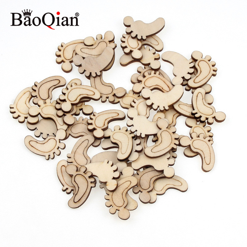 50pcs Footprint Styling Home Decoration Wood Chips Diy Creative Wooden Craft Decoration Scrapbook