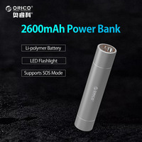 ORICO 2600 mAh Premium Aluminium Ultra Slim Lipstick-Sized Draagbare Oplader Power Bank Backup Batterij met Zaklamp