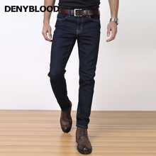 Denyblood Jeans 2017 Spring Mens Stretch Denim Pants Slim Straight Classic Bussiness Jeans Vintage Original Blue Trousers 818716