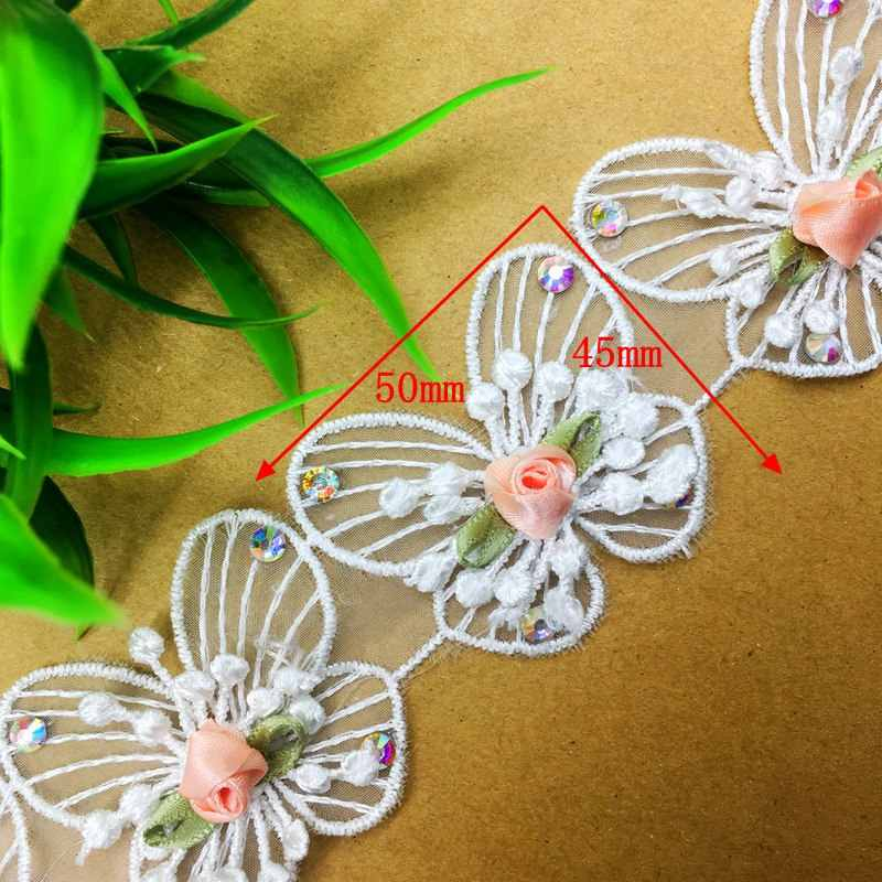 ... GXINUG 1 Yard Diamond Butterfly Shape Lace Fabric Trim Ribbons DIY Sewing  Handmade Embroidered Garment Headdress ... 16dc3fcae6d8