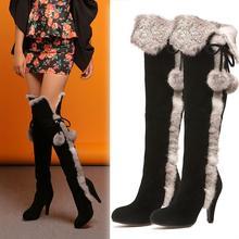 2013 Winter New Korean High-Heeled Knee High Boots Women'S Fashion Design Rabbit Fur Leather Snow Boots Fur Free Shipping H1117