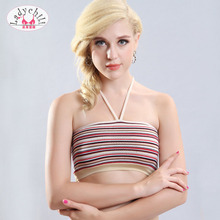 efe047eb201 Ladychili Women Intimates 3pcs pack Young Girl Mix Color Striped Print  Halter