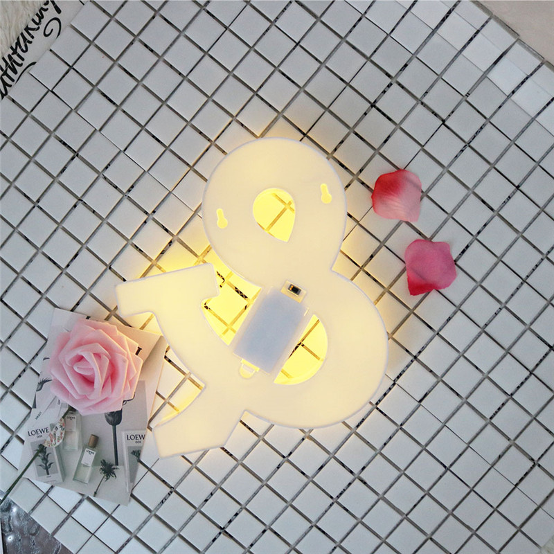 LED Night Light White Letters & LED Marquee Symbol Props Lamp ...